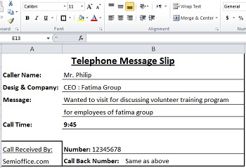 Sample Telephone Message Slips in Ms Excel Free Download