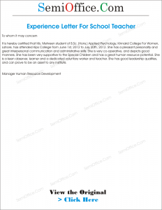 Experience letter for teacher from school yelopaper Image collections