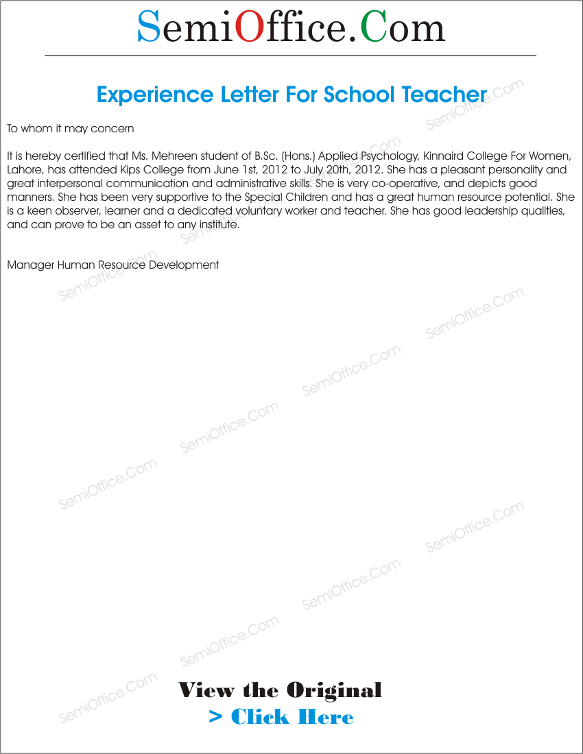 experience letter for teacher from school