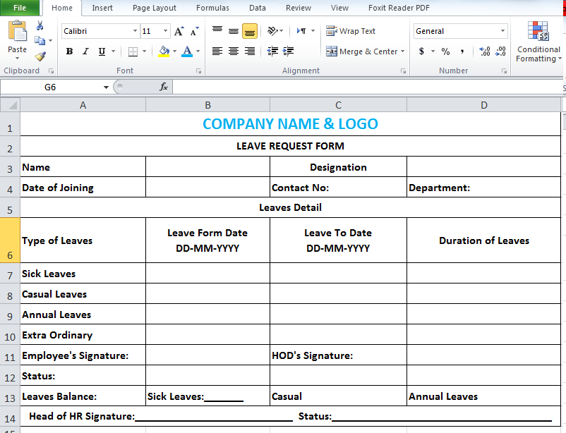 Leave Application Form Template In Excel  Leave Request Template