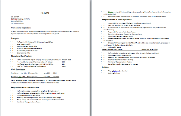 resume for o level a levels students with experience