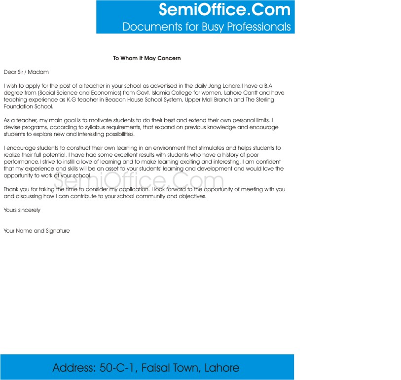 Cover letter for teachers sample - Sample Cover Letter and