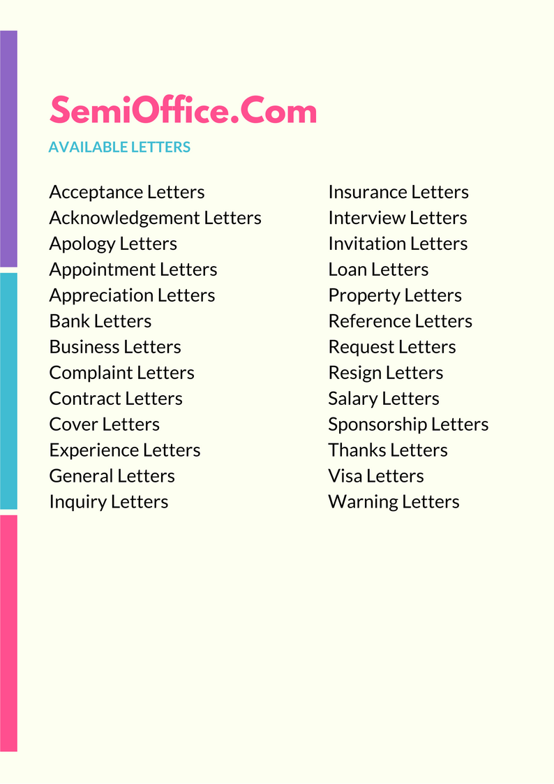 Letters Formats & Templates