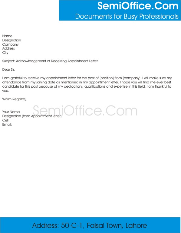 Letter of Receiving Appointment Letter
