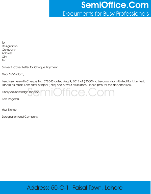 Cover Letter for Payment of Cheque SemiOffice Com SemiOffice Com ...