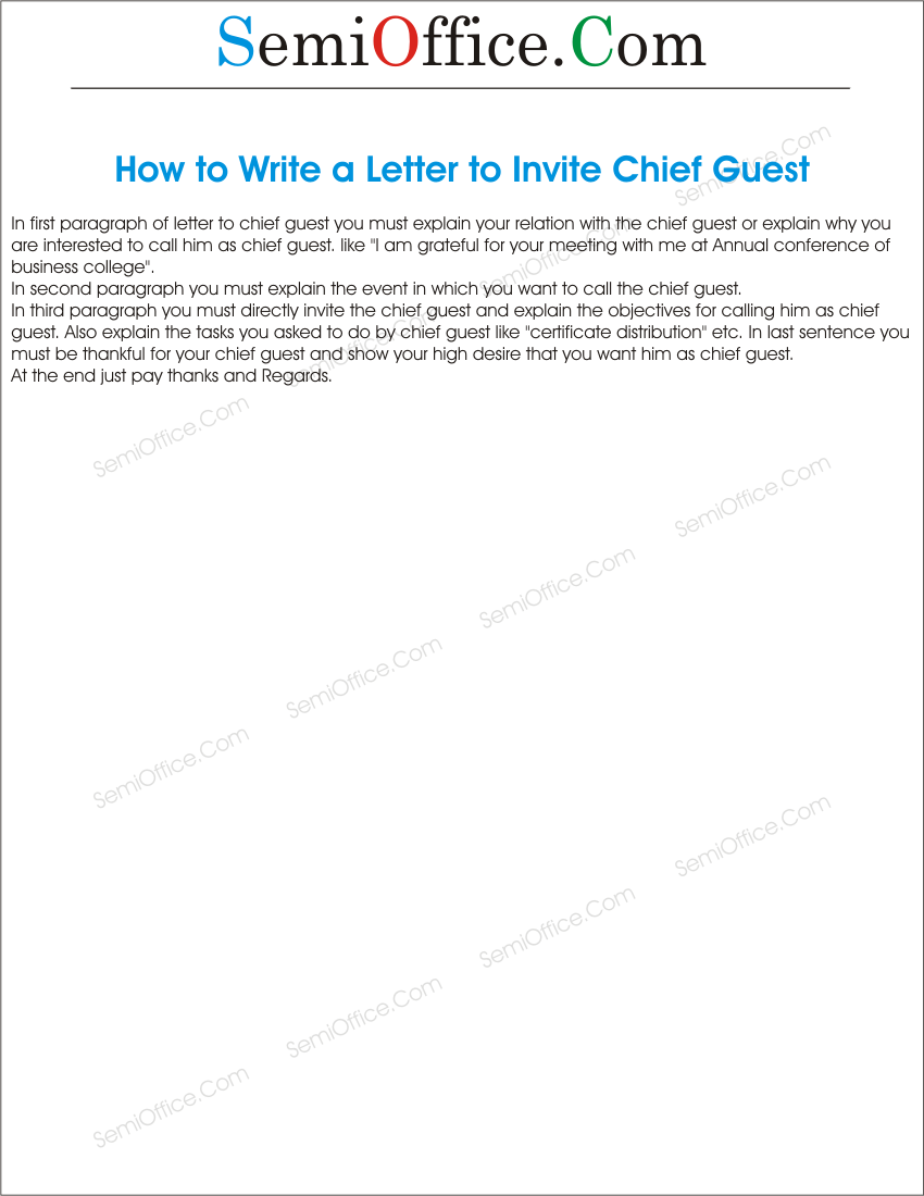 Invitation letter format to invite a guest 28 images formal invitation letter format to invite a guest how to write a letter to invite chief guest stopboris