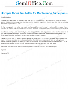 Thank You Letter Sample for Participants of Event