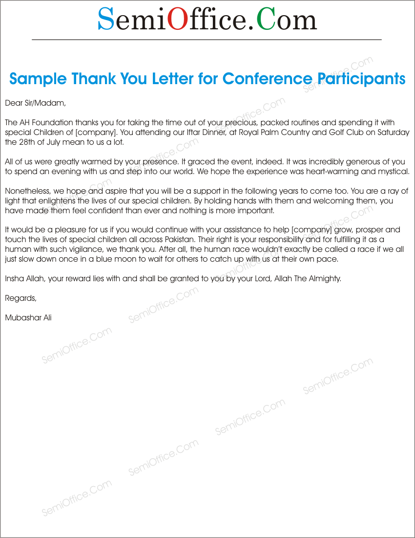 Thank you letter sample for participants mitanshu Image collections