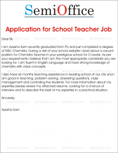 Application for School Teacher Job