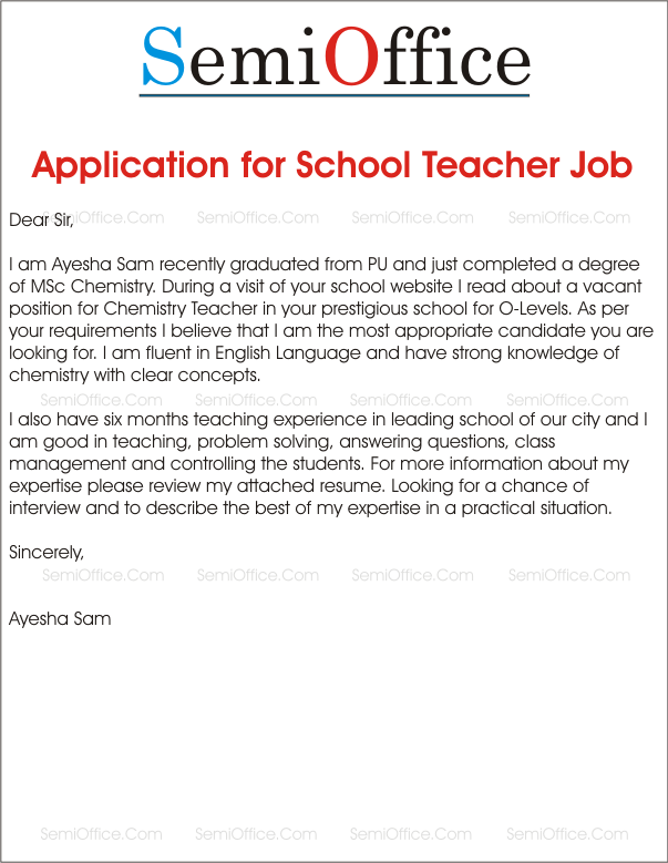 Application for school teacher job free samples for Covering letters for teaching jobs