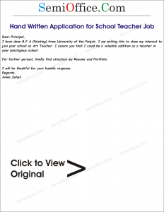 Hand Written Application for School Teacher Job