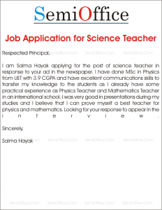 Job Application for Science Teacher
