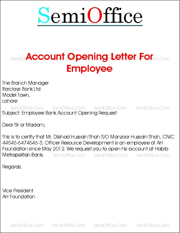 Bank Account Opening Letter for Company Employee – Endorsement Letter for Employment