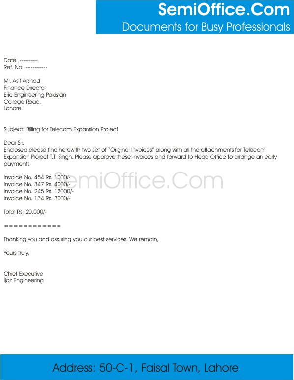 Download simple invoice letter sample for How to bill a client