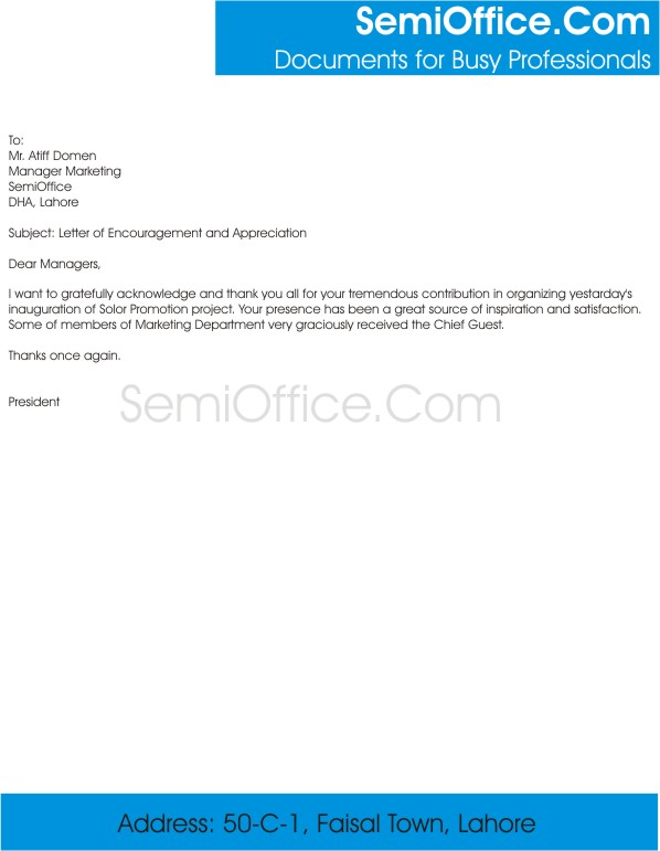 Employee Encouragement Letter – Encouragement Letter Template