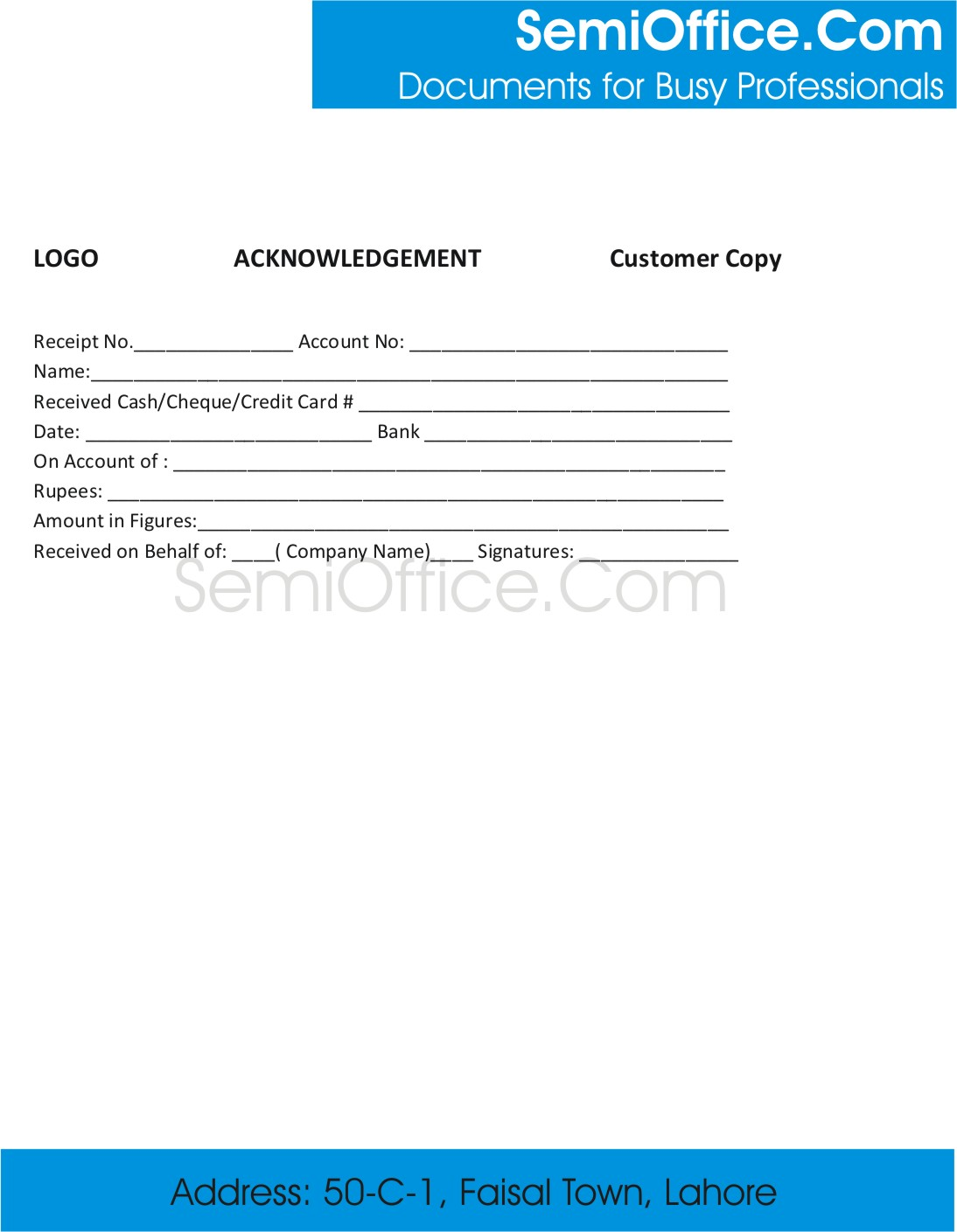 Sample Acknowledgement Receipt Template