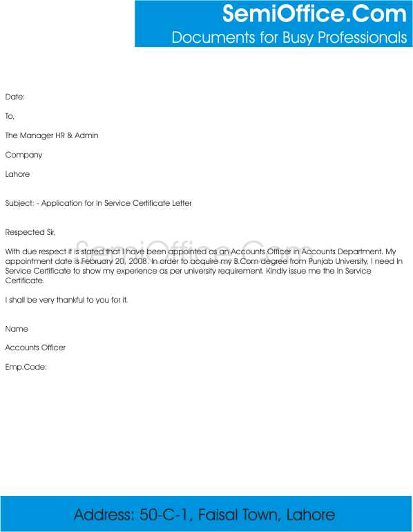 Application Letter For In Service Certificate And