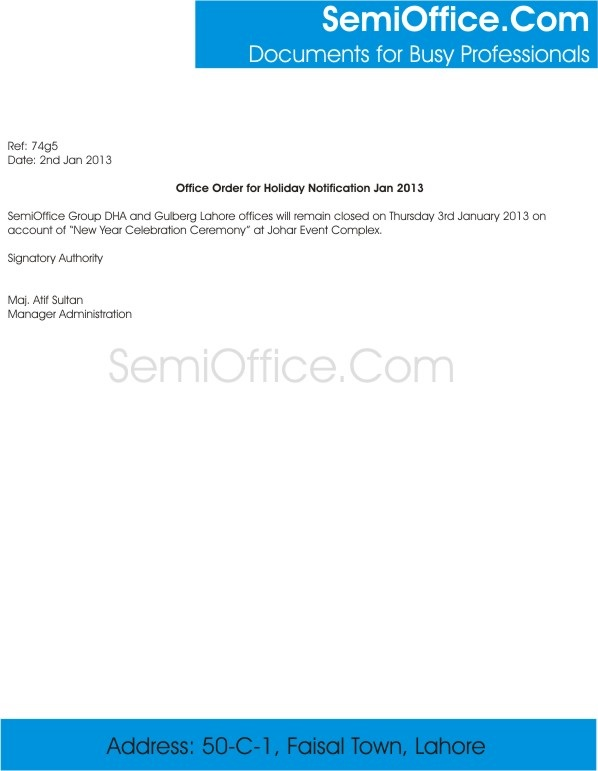 Holiday Notification Letter Format For Office