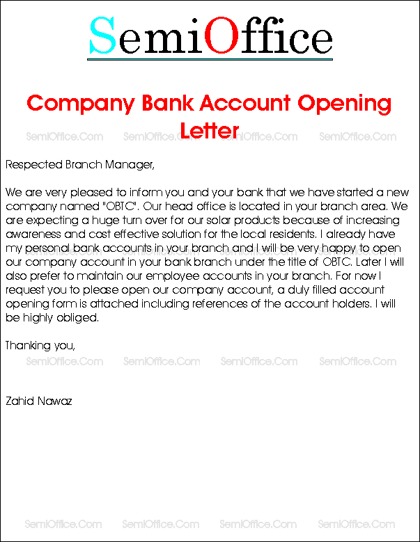 letter to open company bank account