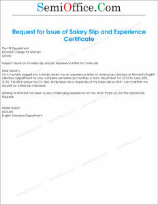 Request for Issue of Salary Slip and Experience Certificate