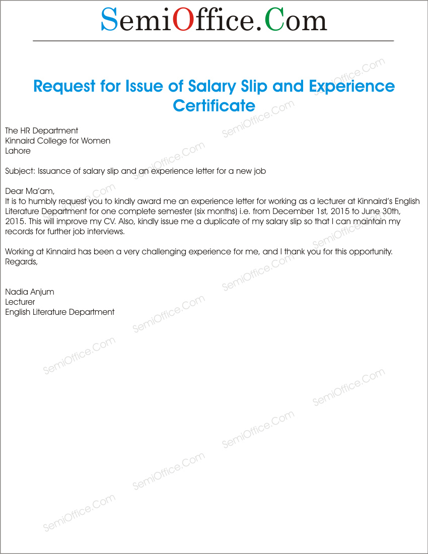 Salary Slip Request Letter Format – Salary Application Format