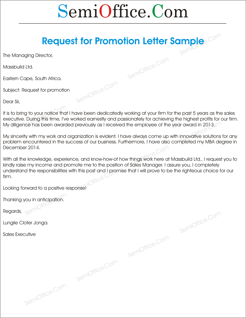 format of application letter for promotion cover letter