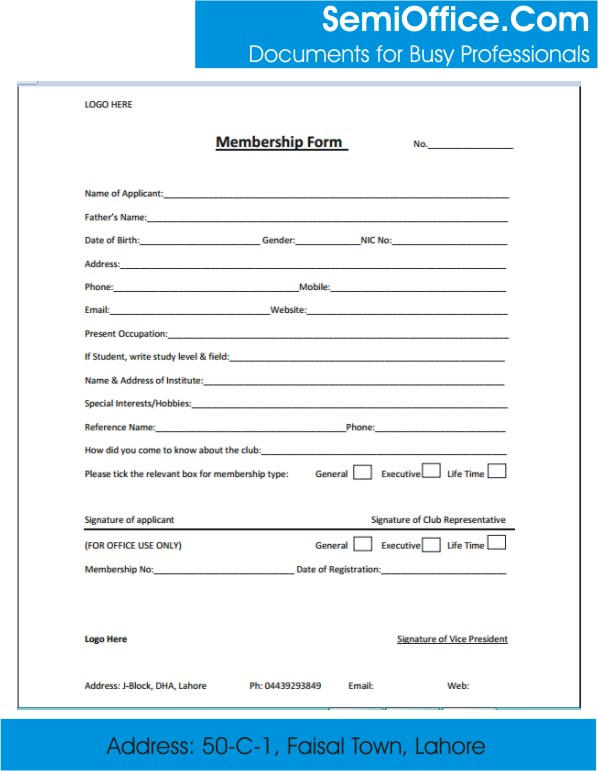 Association membership application form sample.