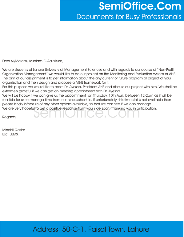 Request For Meeting Appointment Sample Letter
