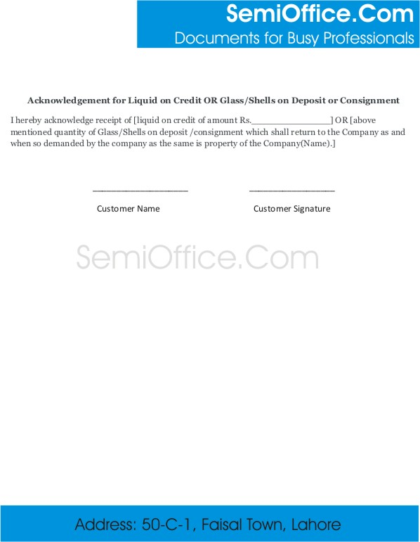 Acknowledgement for Debit/Credit on Deposit or Consignment