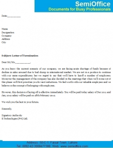 Letter of Termination From Employer