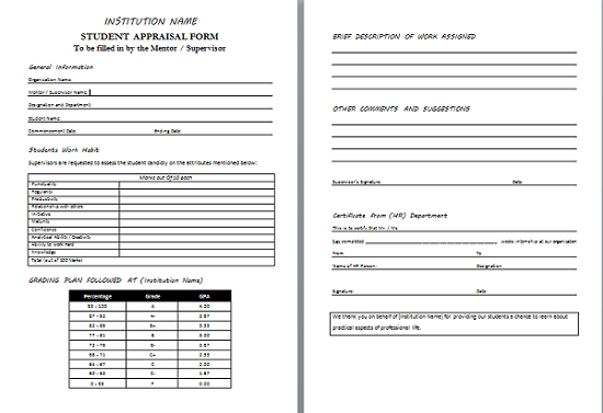 Doc693951 Template Appraisal Form Doc638903 Appraisal Form – Appraisal Document Template