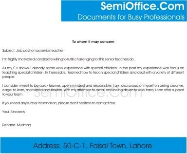 Letter for Special Education Teacher