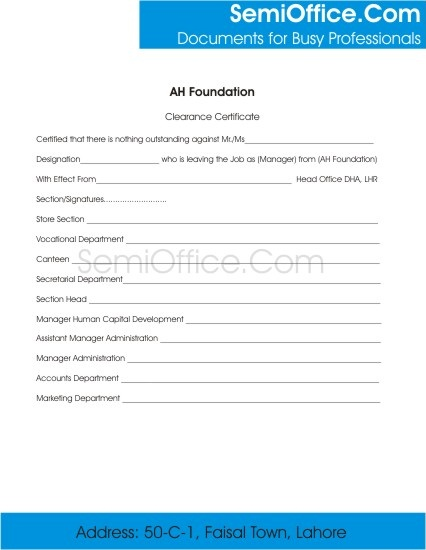 Employee Clearance Form for Resigning and Termination | SemiOffice.Com