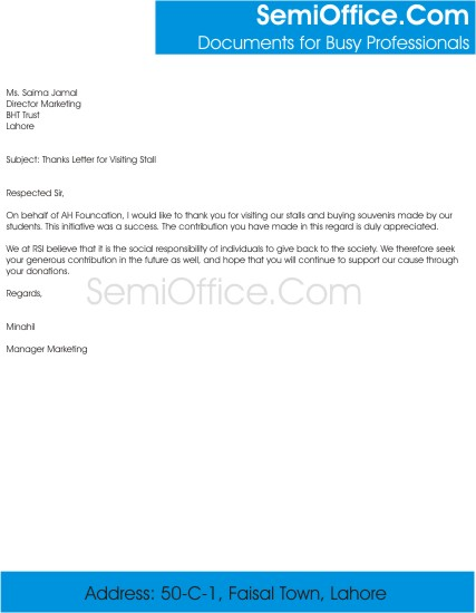 Thanks Letter For Visitors Free Download