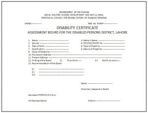 Disability Certificate Format