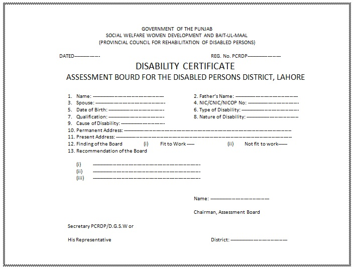 Disability Certificate Format In Word for Free Download