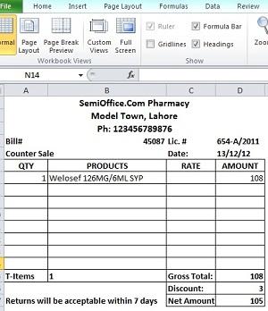 Pharmacy Bill Format In Excel Free Download Semioffice Com