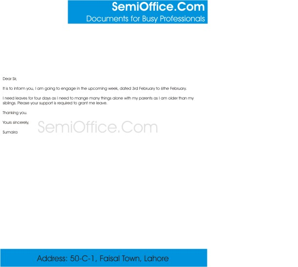 Application for casual leave from office leave application letter in leave application spiritdancerdesigns Choice Image