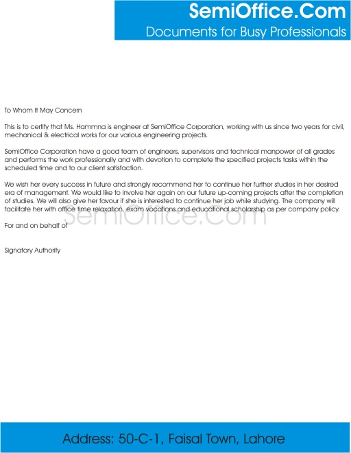 Sample Recommendation Letter by Employer