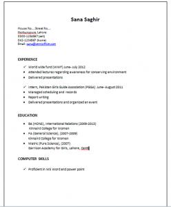 Resume Sample For International Relations