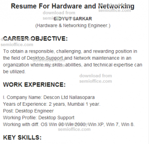 Resume For Hardware and Networking Engineer