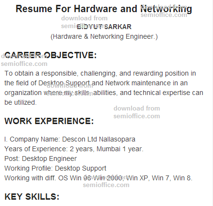 computer hardware engineer resume format - Resume Format For Computer Hardware Engineer Download