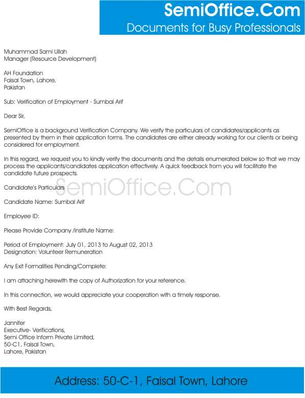Verification Of Employment Sample Letter