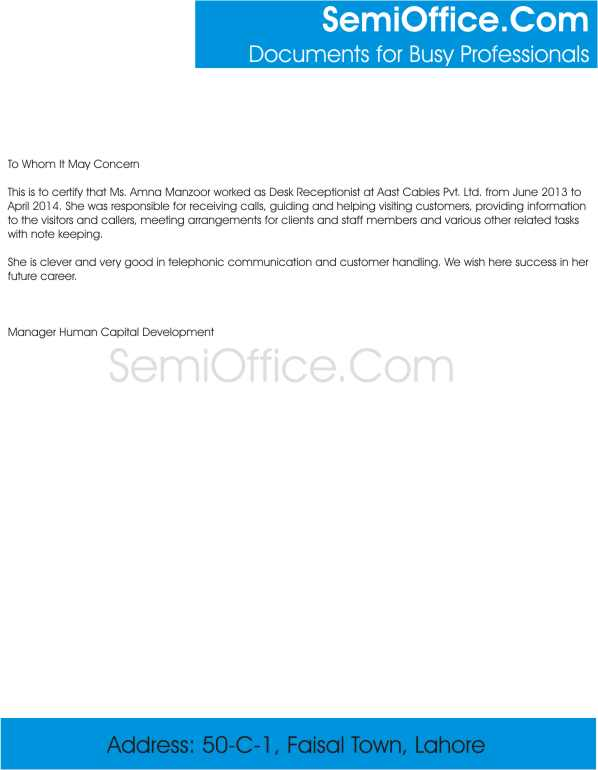 Experience Letter For Receptionist Free Sample
