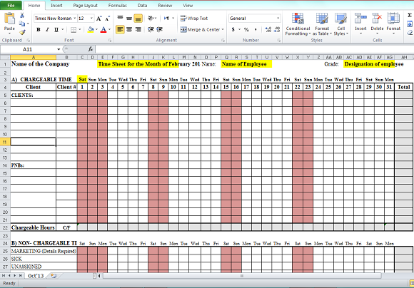 Format in excel free download timesheet format in excel free download pronofoot35fo Gallery