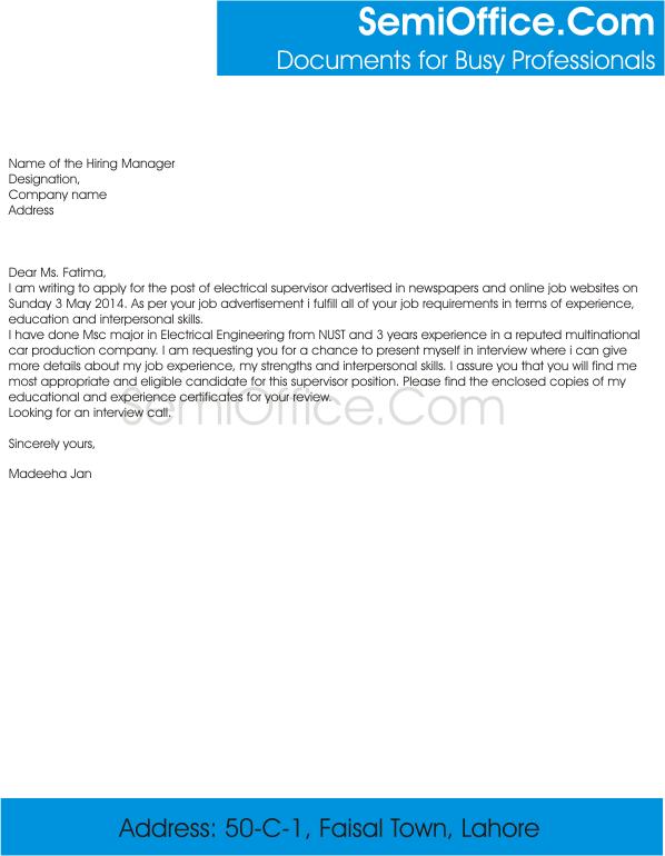 Job Application For Supervisor Free Samples   SemiOffice.Com