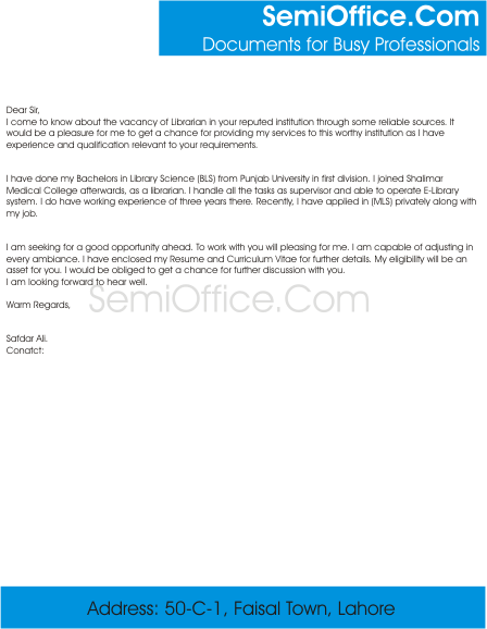 application letter for front desk position