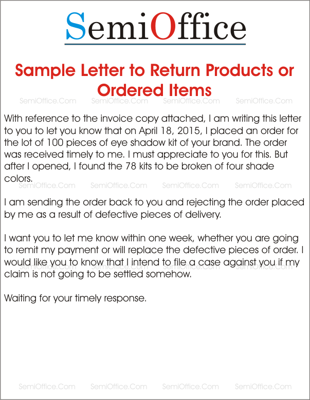 Sample_Letter_to_Return_Products_or_Ordered_Items Vendor Rejection Letter Template on vendor request letter template, vendor termination letter template, vendor reference letter template,