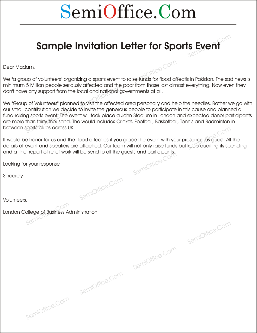 letter of invitation to sports event – Formal Invitation Letter for Event