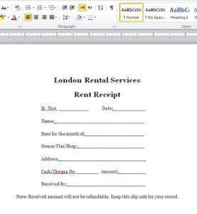 Rent Receipt Format in Word